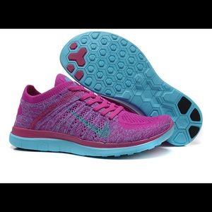 Nike Free Flyknit Tennis Shoes Fuchsia/Turquoise